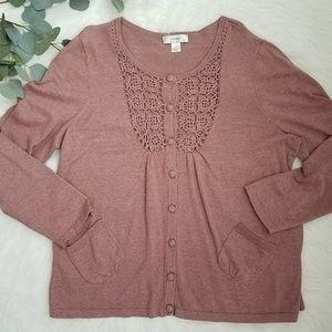 CJ BANKS Dusty Rose Crocheted Sweater 1X